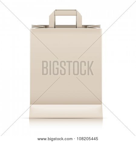 detailed illustration of a blank paperbag template, eps10 vector