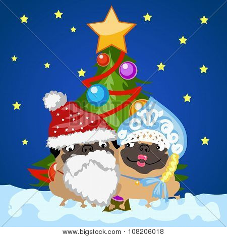 Santa Claus and snow maiden with Christmas tree