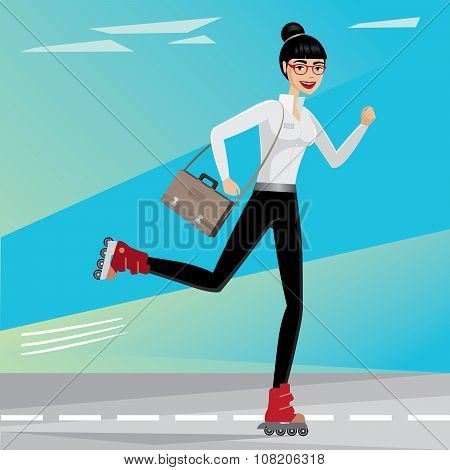 Business Woman Rides On Roller Skates