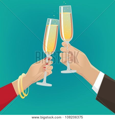 Couple Clink Glasses