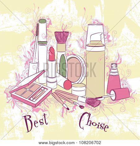 Decorative Stylish Illustration Cosmetics And Make-up