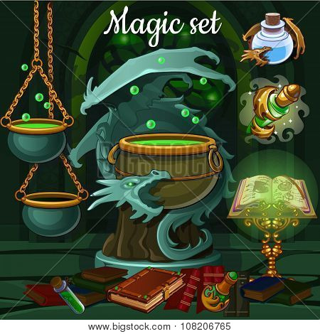 Magic set of tools for witchcraft and spells