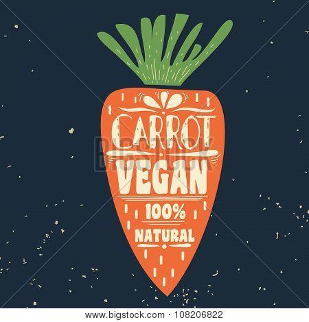 Vegan Typographic Print With  Carrot.