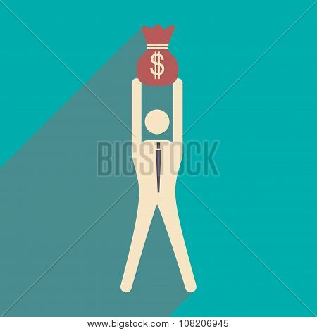 Flat design modern vector illustration icon businessman with money bag