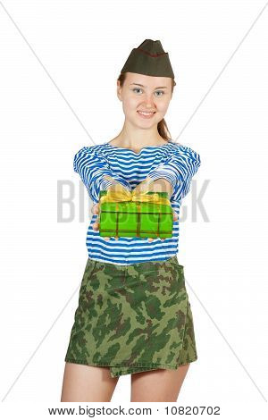 Army Girl  With Holiday Gift