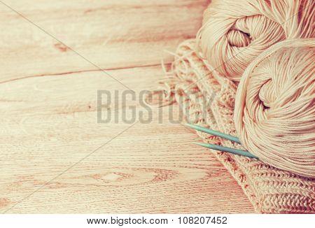 Balls Of Yarn And Knitting Needles (toning)