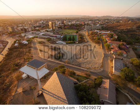 Namibia: Windhoek aerial photo towards city center