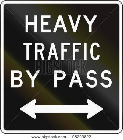 Old Version Of The New Zealand Road Sign - Bypass For Heavy Vehicles In Either Direction