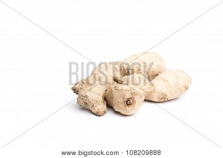 Uncut Spice Ginger Root Isolated Against White Background Selective Focus