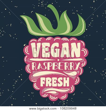 Vegan Typographic Print With Raspberry.