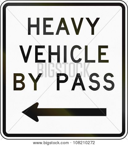 New Zealand Road Sign - Bypass For Heavy Vehicles, To Left