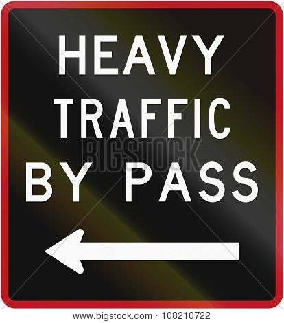 Old Version Of The New Zealand Road Sign - Bypass For Heavy Vehicles, To Left