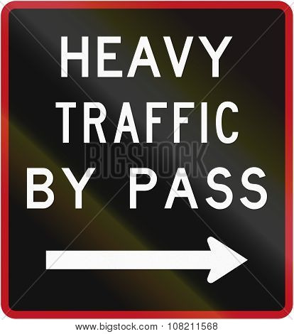 Old Version Of The New Zealand Road Sign - Bypass For Heavy Vehicles, To Right