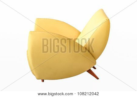 Sofa Leather Yellow Color Isolated On White Background