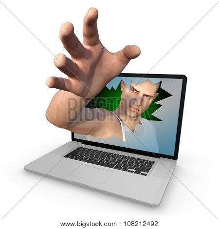 Cyber Criminal Grabbing Whatever He Can