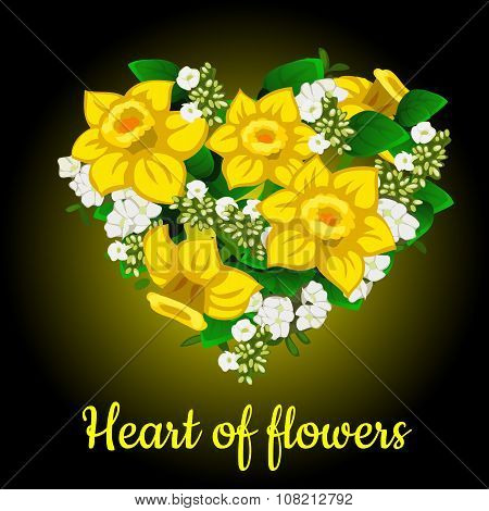 Heart from yellow daffodil, stylish bouquet
