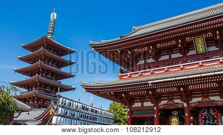 Shrine And Pagoda At Senso-ji Temple In Tokyo, Japan