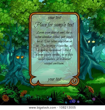 Landscape with mystical nature and frame for text