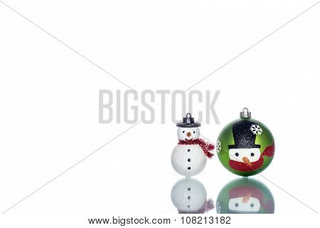 Snowman Baubles With Snowman On White Background, Copy Space