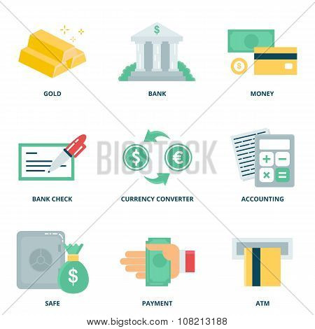 Money And Finance Vector Icons Set, Flat Style