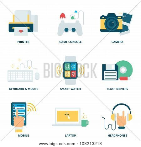 Modern Devices Vector Icons Set, Flat Style