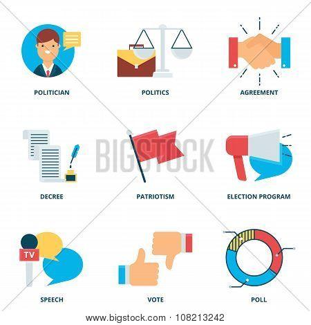 Politics Vector Icons Set, Flat Style