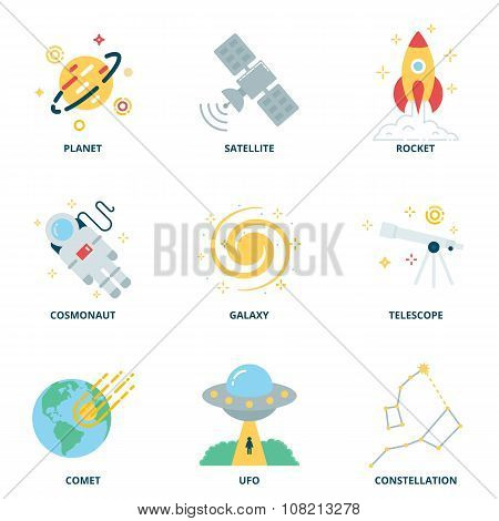 Space Vector Icons Set, Flat Style