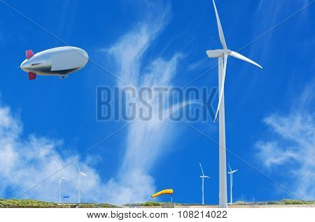 Airship, Zeppelin And Wind Power Plant