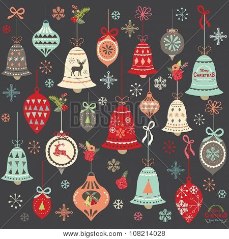 Chalkboard Vintage Christmas Bell Elements