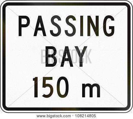 New Zealand Road Sign - Passing Bay Ahead In 150 Metres
