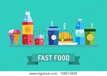 Fast food objects set. Water bottle juice, eat, ice cream, hamburger, hot dog, mobile food or restaurant, fast food restaurant, lunch time. Design elements.
