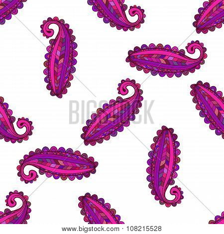 Seamless Pattern Of Colorful Paisley