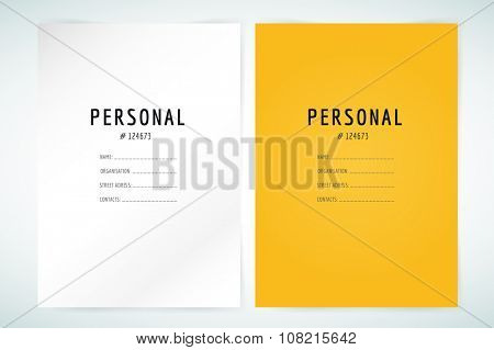 Form blank template. Business folder, paper and print, office, personal information text, top secret. Design element.s Print design. Isolated on white.