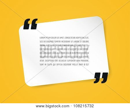 Quote text bubble. Commas, note message and comment, template, design element. Design object isolated on yellow.