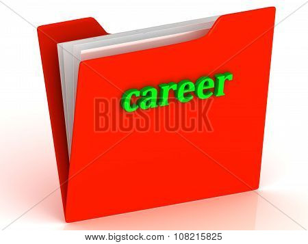 Career - Bright Green Letters On A Gold Folder