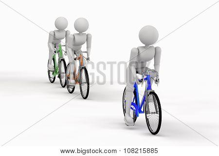 Three Sports Person Biking