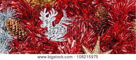 Christmas Reindeer In Tinsel, Panorama.