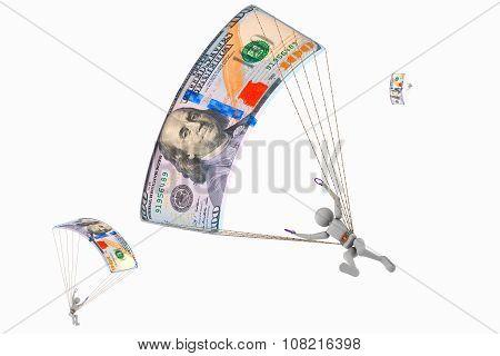 Skydiver Flying At 100 Dollars Banknotes