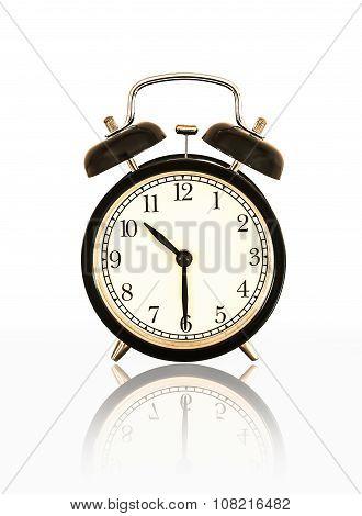 Alarm Clock Reflection Isolated On White .