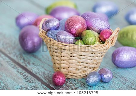 Pastel Easter Chocolate Eggs In A Basket