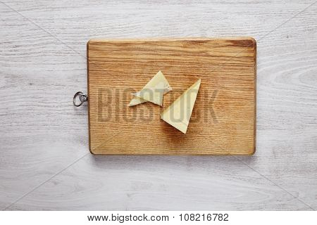 Mozzarella Pizza Cheese Isolated On Wooden Board Top View Whitebrushed Table