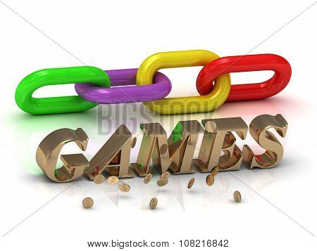 Games- Inscription Of Gold Letters And Green, Yellow,