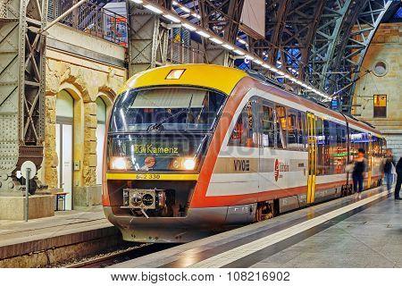 Dresden,germany-september 09,2015: Intercity Train At The Railways Station Of Dresden.rail Transport
