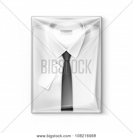 White classic men shirt with tie in transparent packaging box