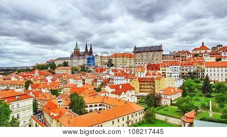 Church Saint Vitus, Ventseslaus And Adalbert And Area Lesser Town Of Prague. Czech Republic.