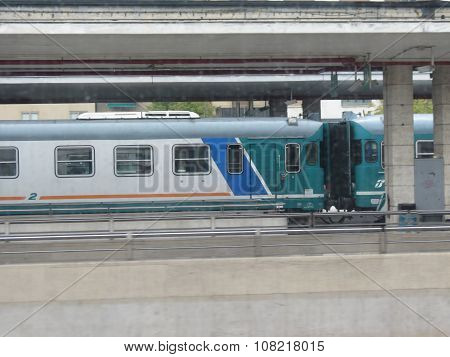 MESTRE ITALY - CIRCA JULY 2014: A train on railroad railway for mass transit public transport