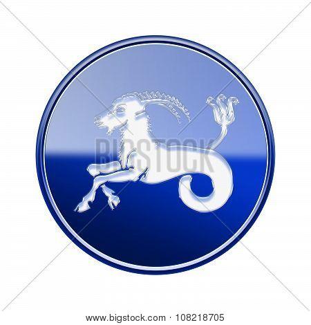 Capricorn Zodiac Icon Blue, Isolated On White Background