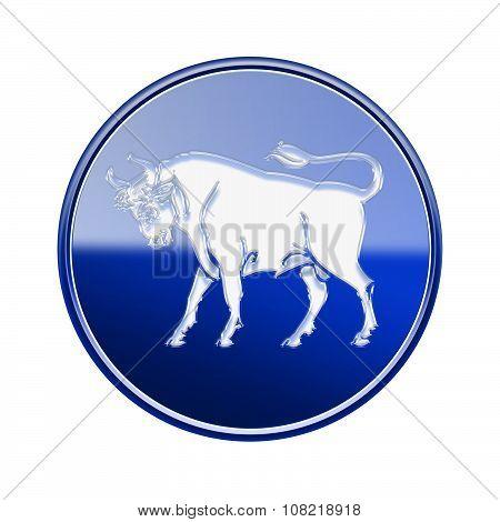 Taurus Zodiac Icon Blue, Isolated On White Background