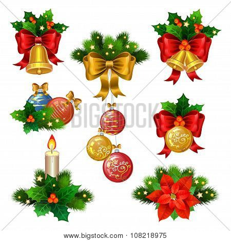 Christmas Festive Ornaments Icons Set. Decoration From Christmas Tree Branches, Christmas Star