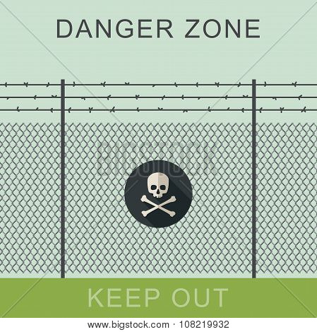 Danger zone and skull sign.